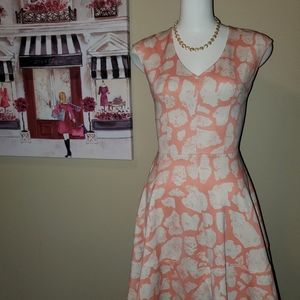Bar III Macy's Dress coral pink with spots